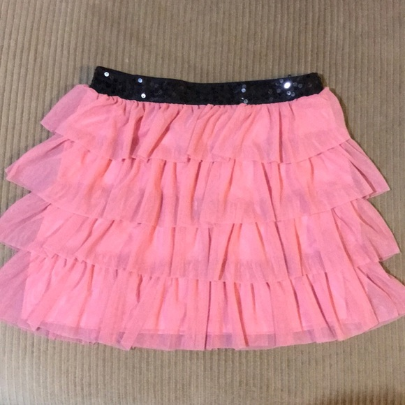 Candie's Dresses & Skirts - Layered pink tulle skirt with black sequined waist